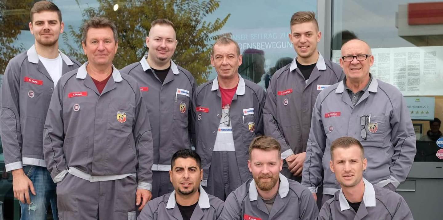 Das Werkstatt-Team vom Autohaus Pietsch, Walldorf/Baden