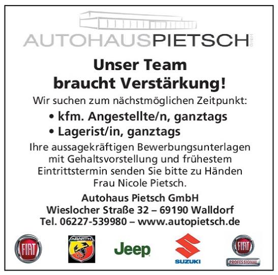 Autohaus Pietsch, Walldorf: Stellenanzeigen Juli 2016